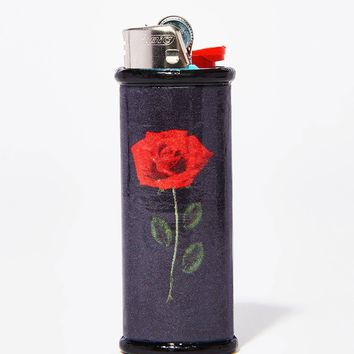 Black Rose Bic Lighter Case
