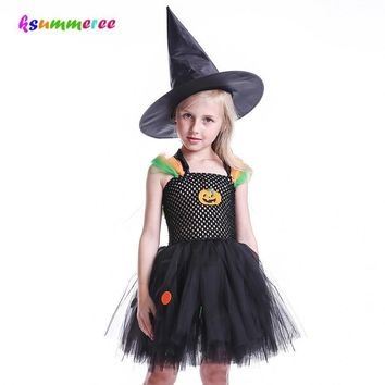 Kids Halloween Tutu Dress With Witch Hat Pumpkin Pattern and Color Circle Costume Girls Black Tulle Dress Cosplay Party Photo