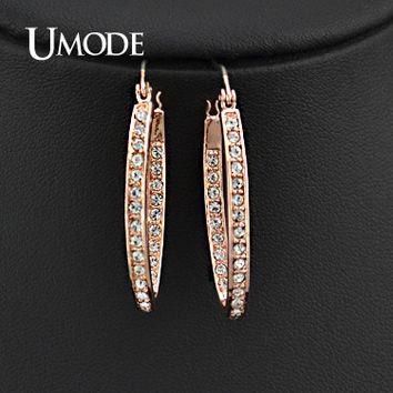 UMODE Rose Gold Plated Rhinestones Studded Oval Hoop Earrings For Women JE0194A