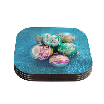 "Sylvia Cook ""Vintage Glass"" Blue Coasters (Set of 4)"