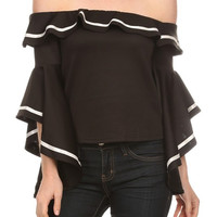 BCCT7321 Solid off shoulder top with bell style long sleeves