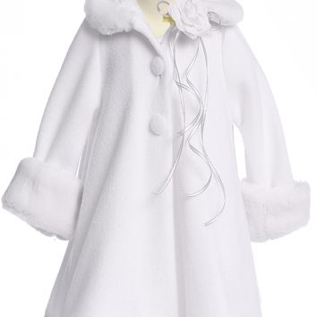 White Fleece Girls Dress Coat with Fur Trim 2-12