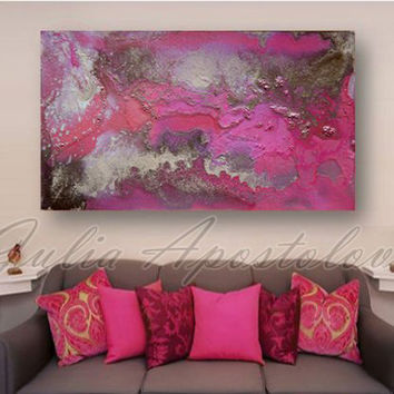art, abstract painting, large pink painting print, gold, rose, purple, print on canvas, modern wall decor art, julia apostolova