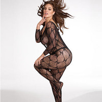 Dreamgirl Lace Bodystocking Plus Size Hosiery 0019X at BareNecessities.com