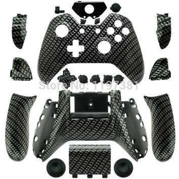 Custom Hydro dipped Black Carbon Fiber Controller Shell with full buttons Mod Kit for Microsoft Xbox one 1 wireless controller