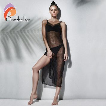 Andzhelika Bikini 2018 Beach Cover-up Swimsuit Backless Women Sexy Covers up Swimsuit Beach Wear Metal Knitting Swimwear AK1921