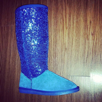 SEQUIN WINTER BOOTS IN ROYAL