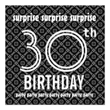 SURPRISE 30th Birthday Party Diamond Pattern Personalized Invitations