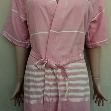 Pastel pink colour women's kimono style short bathrobe, bridesmaids  robe, dressing gown, beach robe.