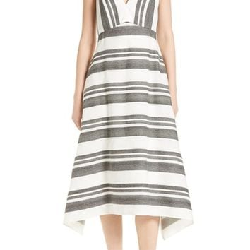 Tibi Organza Stripe Midi Dress | Nordstrom