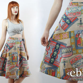 Vintage 70s Native American Wrap Skirt S M Novelty Print Skirt Indian Skirt High Waisted Skirt High Waist Skirt Vintage Wrap Skirt
