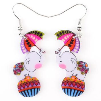 Drop Elephant Earrings Long Acrylic Brand New Bijoux Animal Jewelry Cartoon Cute Girls Women Earrings Accessories
