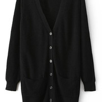 ROMWE Split Pocketed Slim Sheer Black Cardigan