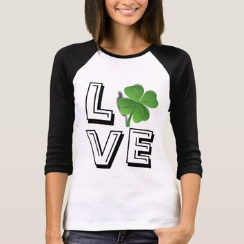 St. Patrick's Day LOVE with Lucky Shamrock T-Shirt