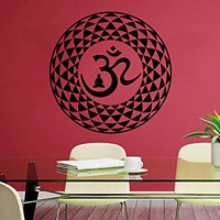 Mandala Wall Decal Yoga Studio Vinyl Sticker Decals Ornament Moroccan Pattern Namaste Om Symbol Home Decor Boho Bohemian Bedroom NS1043