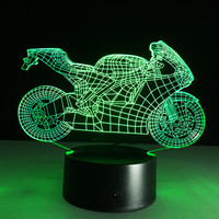 Motorcycle Touch Switch 3D LED Night Light