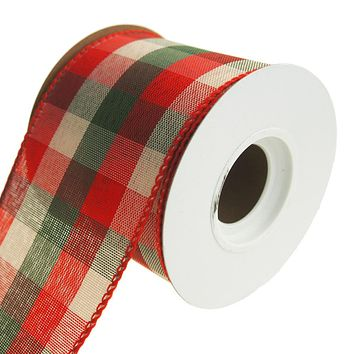 Checkered Holiday Plaid Wired Ribbon, Red/Green/Natural, 2-1/2-Inch, 10 Yards