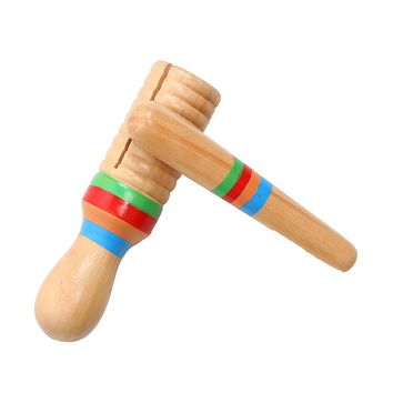 Wooden Toys Small Single-threaded Ring Percussion Cylinder Croak Frog Barrel Rod Bell Toys Musical Instrument