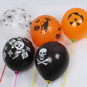 ZLJQ 20pcs Halloween Skull Latex Balloons Cobweb Pattern Ballon for Baby Shower Supplies Kids Birthday Party Decoration 6D