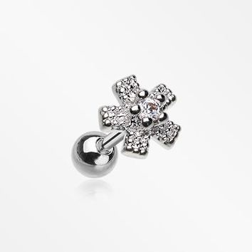 Star Flower Dazzle Sparkle Cartilage Tragus Barbell