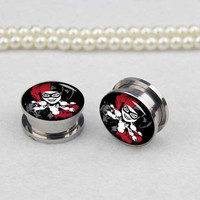 Pairs  Devil Clown  plugs gauges  , Stainless Steel Flesh Tunnel Ear Plugs, Screw Body Piercing Jewelry, Ear Expander,women ear plugs