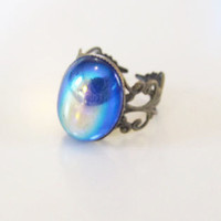 Swarovski Sapphire Adjustable Mood Ring Bronze by FlossyJewellery
