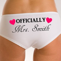 "Personalized Women's Underwear Knickers Panties ""Officially Mrs Named"" Novelty Gift Wedding Favour Birthday Present Lingerie"