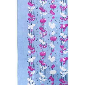 Dahlia Women's 100% Merino Wool Pashmina Scarf - Raindrops and Flower - Blue