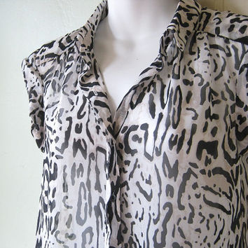 Cute, Semi-Sheer Geo/Animal Print Top; Rolled Cap Sleeves - Small Poly Chiffon Blouse in Off-White, Cream & Black Print - Day/Work/Date Top