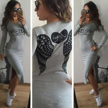 Fashion Womens Wings Print Long Sleeve Dress