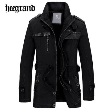 HEE GRAND 2017 New Long Trench Coat Men Thick Winter Coat Men British Slim Mens Overcoat Brand Clothing Male Coat Trench MWF304