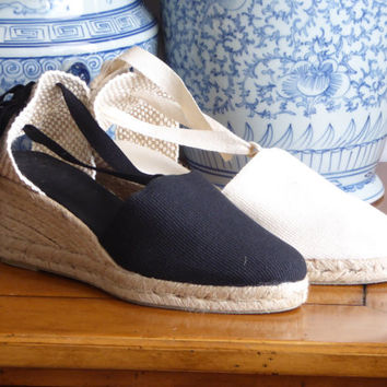 Lace up espadrille wedges - NATURAL - mumishoes - made in spain