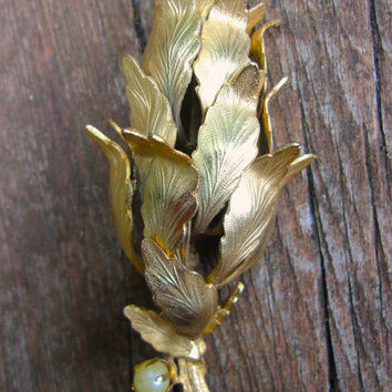 Antique Gold Tone Flower Brooch, Layered Metal Petals, Satin Etched, Glass Pearl, Vintage