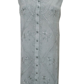 Peasant Dress Grey Stonewashed Rayon Embroidered Sleeveless Shift Xl