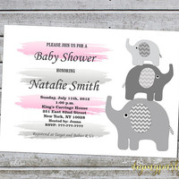 Girl Baby Shower Invitations Elephant Baby Shower Invitation Pink Grey Baby Shower Invites (50-1B) Instant Download