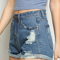 HIGH-RISE DISTRESSED DENIM SHORTS