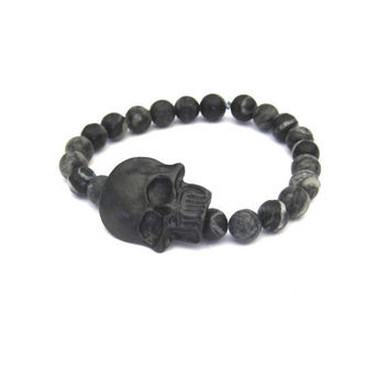 Black Skull Stretch Bracelet with Beads by SassyBelleWares on Etsy