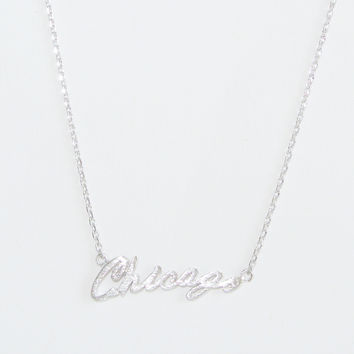 Silver Chicago Script Necklace
