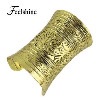 Bohemian Indian Jewelry Antique Gold Silver Open Cuff Bangles Carved Flower Big Wide Statement Bracelets For Women Arm Cuff