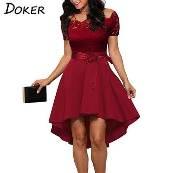 Elegant Red Lace dress Women Patchwork Slash Neck Short Sleeve Sashes Tunic Dress 2018 Summer Ladies Sexy Evening Party Dresses