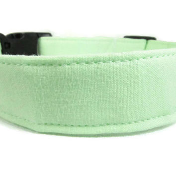 "Dog Collar - READY TO SHIP M 12-20""  Classic Mint Green - Adjustable Cotton Dog Collar"