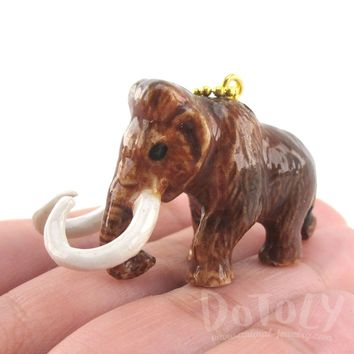 3D Porcelain Woolly Mammoth Shaped Ceramic Pendant Necklace