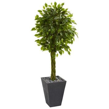 5' Braided Ficus Artificial Tree in Slate Planter UV Resistant (Indoor/Outdoor)