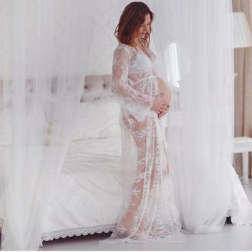Off White Matenity Gown Photo Shoot Maternity Photography Props Lace Dresses Floor Length Lace Maternity Maxi Dress See Through