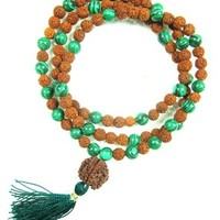I Am Centered Mala- Prosperity Green Jade Heart Mala Rudraksha Prayer Beads Yoga Mala
