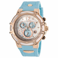MULCO MW1-29903-043 BLUE MARINE MOTHER OF PEARL DIAL CHRONOGRAPH LIGHT BLUE RUBBER LADIES WATCH