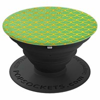 Mermaid Green and Gold Scales Pattern - PopSockets Grip and Stand for Phones and Tablets