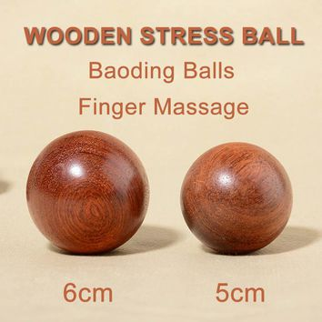 1pcs 50/60mm Wooden Stress Baoding Ball Health Exercise Handball Finger Massage Chinese Health Meditation Relaxation Therapy