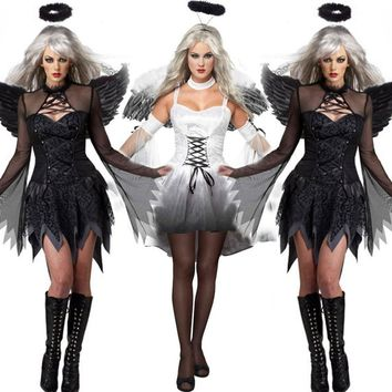 2017 New Fantasia Halloween Costumes For Women Fantasy Cosplay Party Fancy Dress Adult Fallen Angel Costume With Angel Wings