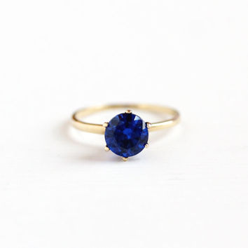 Vintage 10k Yellow Gold Simulated Sapphire Raised Solitaire Ring - Vintage Art Deco 1930s Cobalt Blue Created Spinel Fine Jewelry